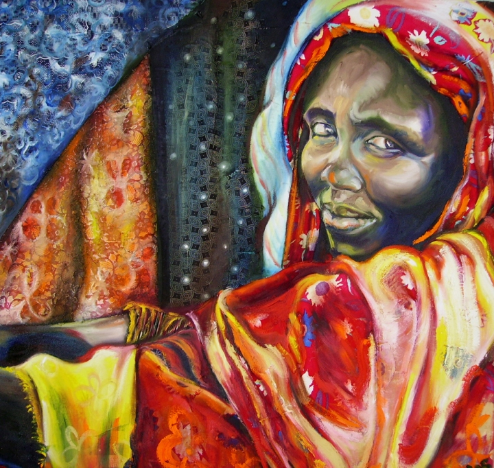 """Somalie woman"", 1,3m x 1,3m, Mixed media on canvas"