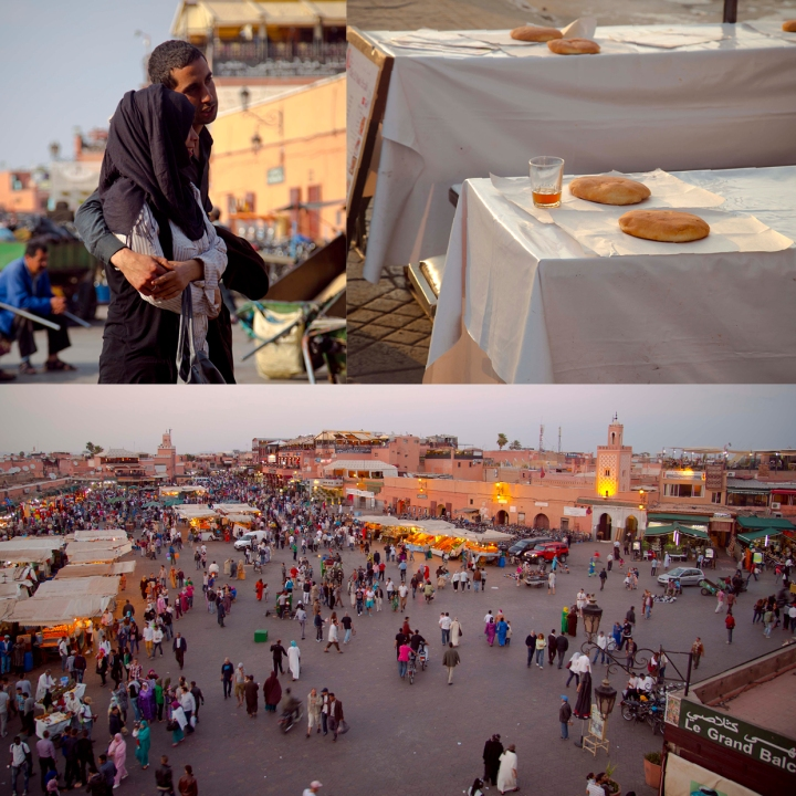 Jemaa El-Fnaa Square, where lovers meet and eat (top left image by Celeste Muller)