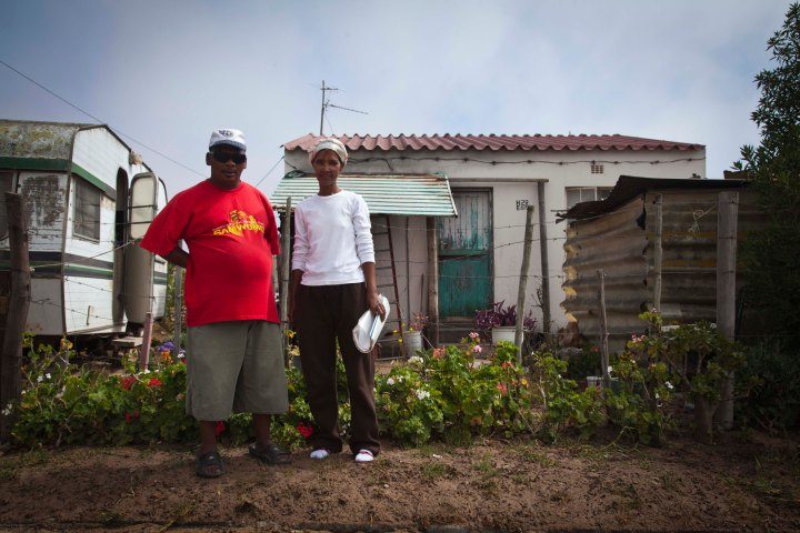Drieka Nero and her husband in front of their home - Elandsbay, South Africa