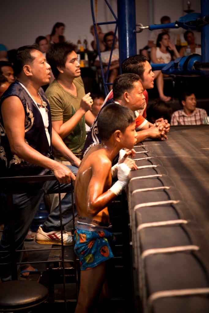 Fans and Junior Muay Thai Boxer - Chaweng Beach, Koh Samui, Thailand